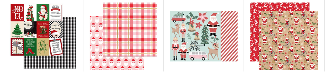 Examples of scrapbook paper with a white Santa Claus